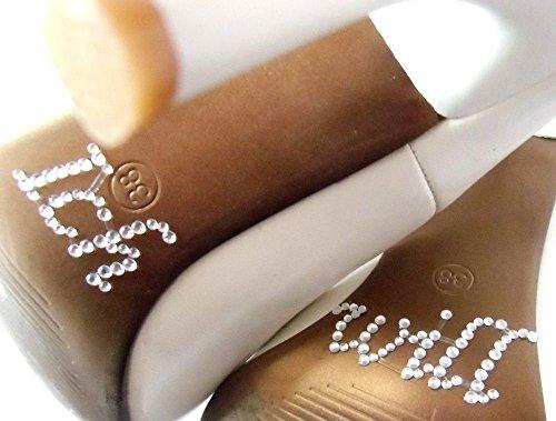 FLAIRELLE, Sticker aus Strass für den Brautschuh, Schuhsticker, Strass-Sticker, für die Braut, Ich will, Hochzeits-Accessoires, Braut-Accessoires, Sticker für ein Paar Schuhe