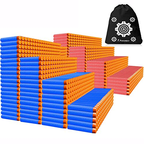 POKONBOY Compatible with Nerf Darts Bullets - 1200 Pack Refill Bullet Darts Compatible with Nerf Guns N-Strike Elite Series Gun Toys for Boys Party Favors with Storage Bags(Red and Blue)