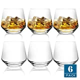 DESIGN•MASTER-Premium Fashion Whiskey Glasses, Large-capacity Scotch Whisky, Bourbon, Cocktails, RUM, Durable Whiskey Glasses for party and camping. 12.9Oz, Set of 6 (Clear)