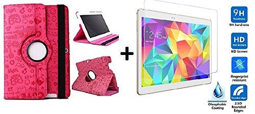 Funda para Tablet Bq Edison 3 10.1' Quad Core. Giratoria 360º Color Fucsia Dibujos + Cristal Templado