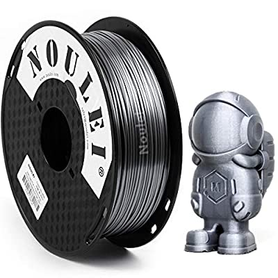 Noulei Shiny PLA 3D Printing Filament 1.75mm Silk SILVER for 3D Printer and 3D Pen, 1kg 1 Spool +/-0.02mm
