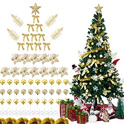 Sunnyglade 94 PCS Christmas Tree Ornaments Set with Glitter Poinsettia