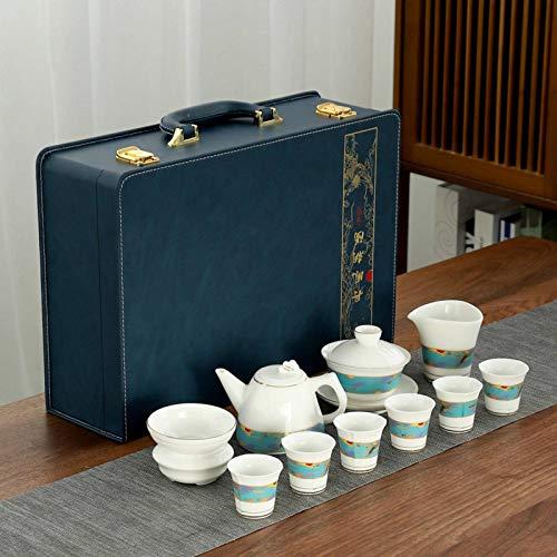 白磁白磁羊脂肪翡翠磁器茶セットカンフーティーセット注目のティーカップカバーボウルティーポット
