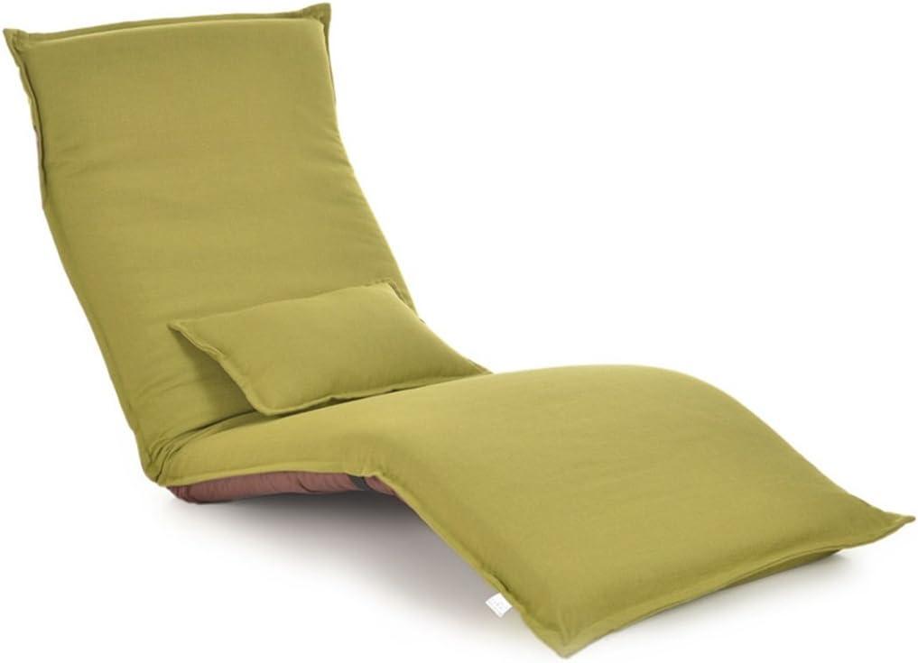 GHM Silla de Camping Silla de Piso Plegable Bay Windo Silla de sofá Individual Sandy Beach Leisure Recliners (Color : Verde)