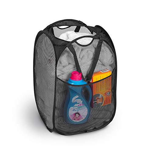 Smart Design Deluxe Mesh Pop Up Square Laundry Hamper w/ Side Pocket & Handles - VentilAir Fabric Collapsible Design - for Clothes & Laundry - Home - (Holds 2 Loads) (14 x 23 Inch) [Black]