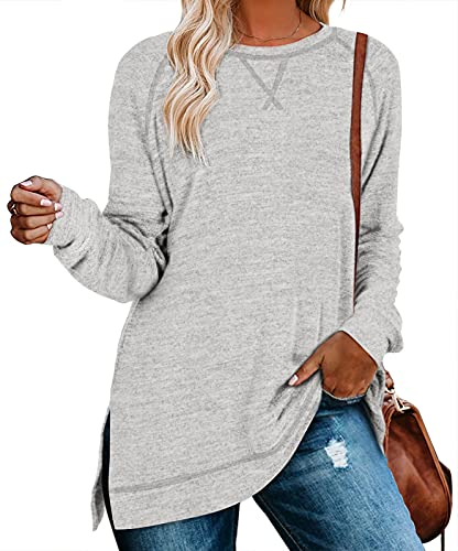 Oversized Sweatshirts for Women for Leggings Sweaters Side Split Shirts Light Grey L