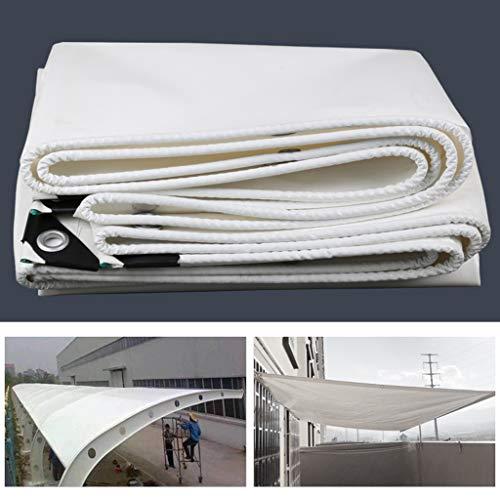 Universal Tarp cover Reinforced Multi-Purpose Tarpaulin PVC Waterproof White Tarp with Metal Eyelets Reinforced Rip-Stop, Foldable Plant Canopy Rainproof Cover