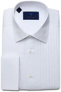 David Donahue Mens Regular Fit Pleated Bib French Cuff Formal Dress Shirt, White