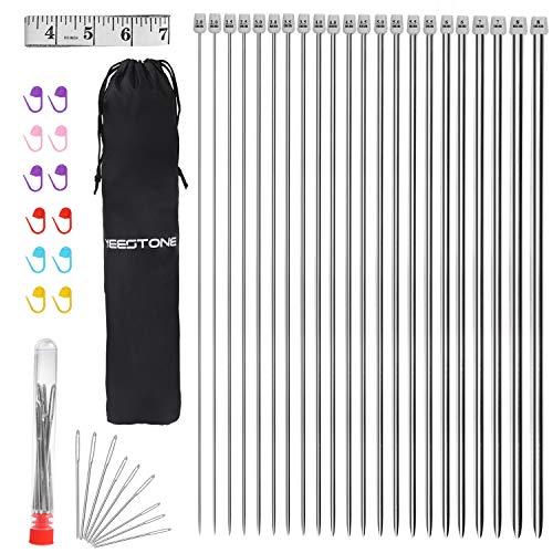 Yeestone - Juego de agujas de tejer (22 unidades, acero inoxidable, punta única, 2 mm (B)-8 mm (L), juego de agujas rectas (11 pares de tamaño 11, 14 pulgadas) con estuche para agujas de tejer