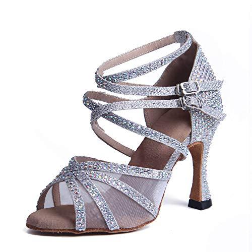 Syrads Zapatos de Baile Latino con pedrería para Mujer Salsa Tango Moderna Bachata Zapatos de Baile de Salón Suela Blanda 1057-1