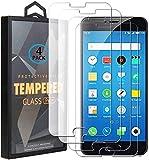 Ycloud 4 Pack Vidrio Templado Protector para Meizu M3 Note/Meizu Note3, [9H Dureza, Anti-Scratch] Transparente Screen Protector Cristal Templado para Meizu M3 Note