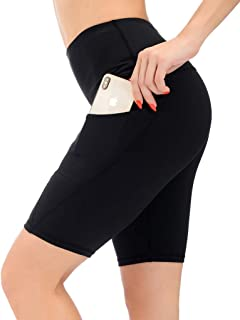 AUU High Waist Yoga Capri Tummy Control Sports Leggings Workout Capris (Black,L)