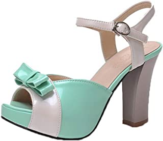 VogueZone009 Women's Patent Leather High-Heels Peep-Toe Buckle Sandals,CCALP014667