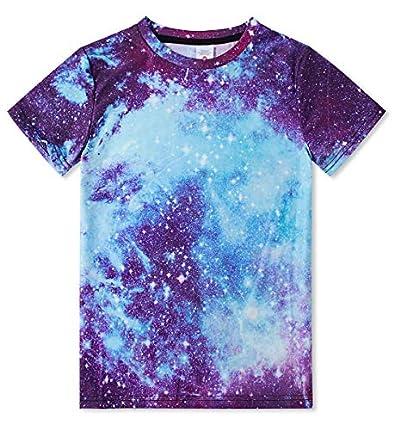 RAISEVERN 90s Niños Chicas Camisetas Verano 3D Modelo Galaxy Impreso Manga Corta Espacio gráfico tee Tops Grandes
