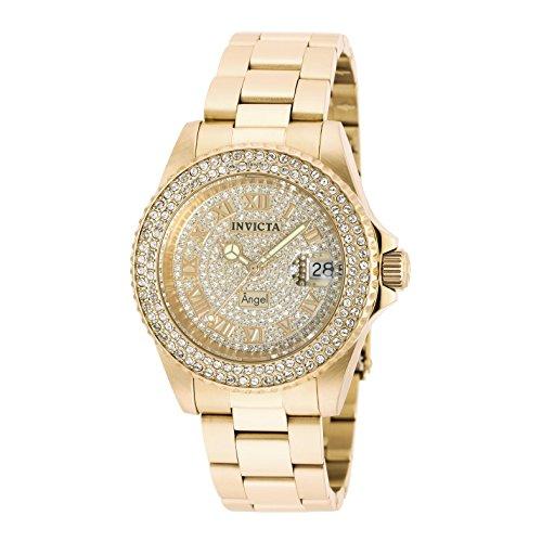Relógio feminino Invicta 90255 Angel Quartz com 3 ponteiros e mostrador dourado