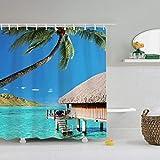 Duschvorhang Badezimmer Badvorhänge, schöner Strand Duschvorhang Strand, Duschvorhang, mit 12 Metallhaken -A_180x180_cm__