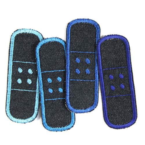 Flickli Pflaster 3 x 8,3cm Bügelflicken blue Jeans bio Set 4 Flicken zum aufbügeln blau