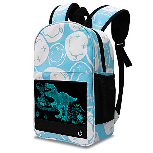 Kids Dinosaur Backpack with 3D Night Light, Toddler Pre-School Lightweight School Bag with 7 Colors LED Light, Cool Backpack Gifts for Boys & Girls