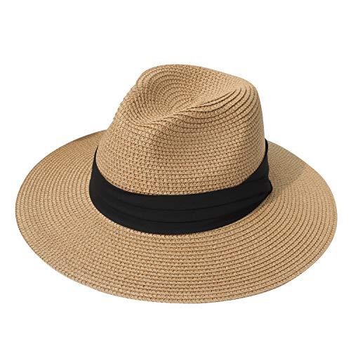 DRESHOW Damen Panama Hut Breiter Krempe Stroh Sommer Fedora Strohhut Panama Aufrollen Hut Strand Rollbar UV Sonnenhut UPF 50 +