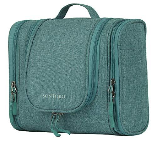 SONTOKO Kompakter Kulturbeutel zum Aufhängen | Reise-Kulturtasche für Männer & Frauen - Stabile & Wasserresistente Kosmetiktasche (Canvas Optik Blau)