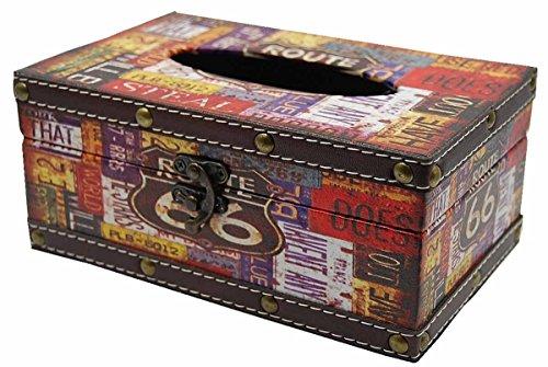 アンティーク 風 木製 ティッシュケース ティシュボックス レトロ インテリア ティシュカバー (1: ルート66)