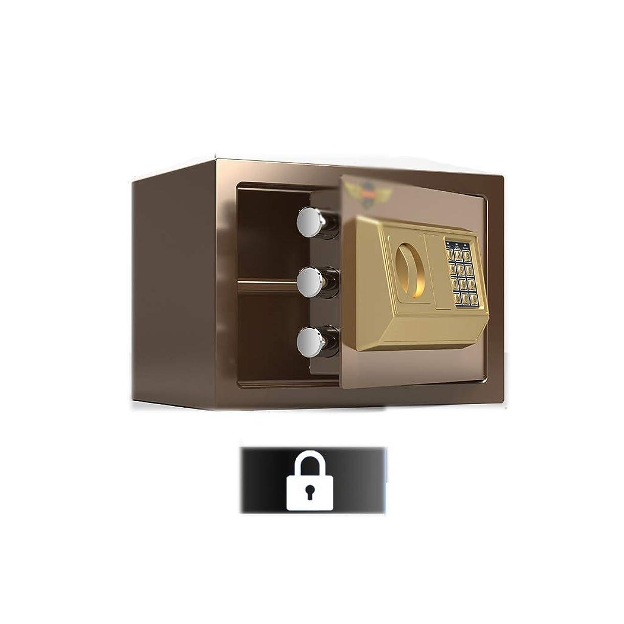 変更再開三角形安全キャビネット 小型金庫、25cm/9.8in事務固定金庫、家庭用ロッカーボックス、現金、書類、印鑑の保管に適している ストロングボックス (Color : Brown)