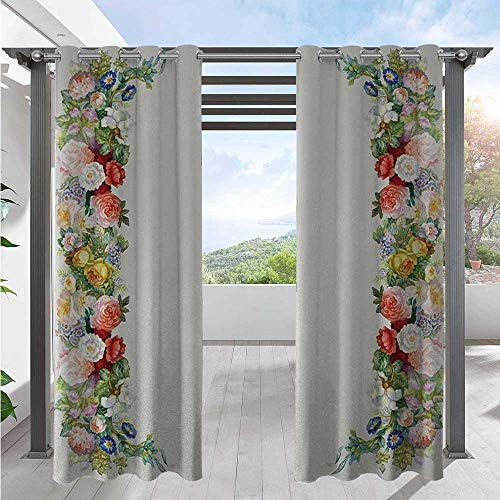 Adorise Outdoor Blackout Curtains Rose Garland Pastel Tones Jasmine Cornflower Bouquet Classic Bloom Graphic Waterproof Patio Door Panel Great for Your Outdoor Deck Red Yellow Green W72 x L84 Inch