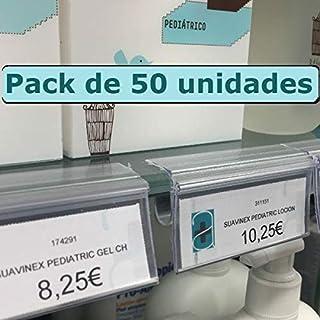 Kit 50 Portaprecios para balda de cristal. Etiqueta de 30x65