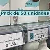 Kit 50 Portaprecios para balda de cristal. Etiqueta de 30x65mm. Transparente.