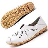 Mocasines de Cuero Mujer Casual Zapatos de Conducción Moda Loafers Verano Planos Zapatillas del Barco Zapatos Blanco EU35=CN35