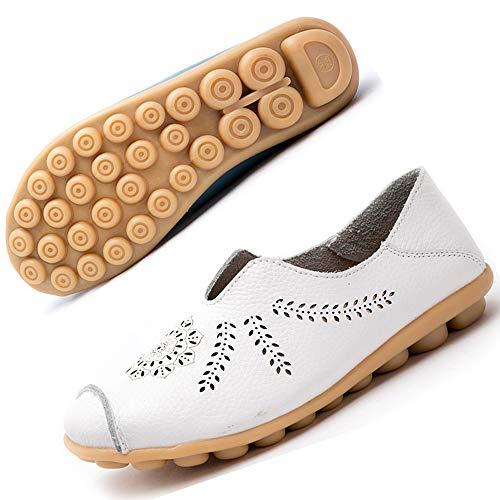 Gaatpot Damen Schuhe Mokassins Leder Bootsschuhe Loafers Fahren Flache Casual Freizeitschuhe Hausschuhe Sommer Schuhe EU40.5=CN42