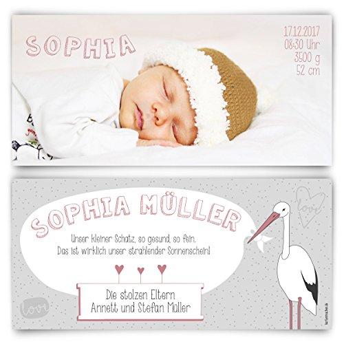 Geburtskarten (10 Stück) - Storch - Geburt Babykarten Mädchen Junge Foto Karten