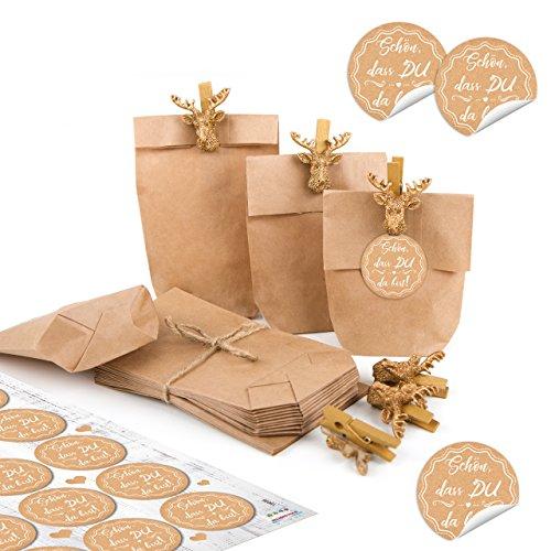 Logbuch-Verlag 24 Schön dass Du da bist Tüten Geschenktüten Gastgeschenk Verpackung give-away Hochzeit Fest Hirsch gold Deko Klammer Kraftpapier Beutel 15 x 9 x 3,5 cm