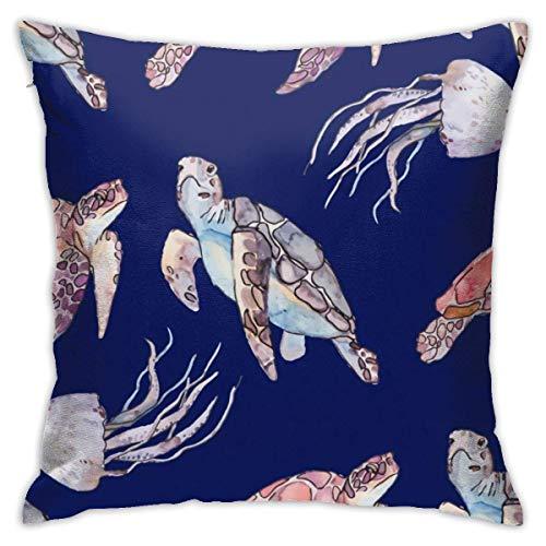 Fundas para cojines Acuarela tortuga medusa dibujos animados vida marina acuario Funda de cojín con impresión clásica de algodón suave y poliéster