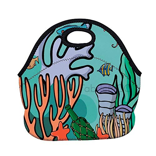 Bolsa de almuerzo de 11.8 x 11 x 6.3 pulgadas, diseño de organismo verde, ilustración de árboles, plantas visuales, para el almuerzo, lonchera, bolsa de comida aislada de neopreno