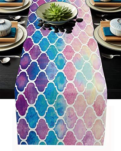 FAMILYDECOR Camino de mesa de arpillera de lino, bufandas de 33 x 250 cm, acuarela, azulejos prismáticos marroquíes, caminos de mesa para fiestas de vacaciones, comedor, cocina, decoración de boda