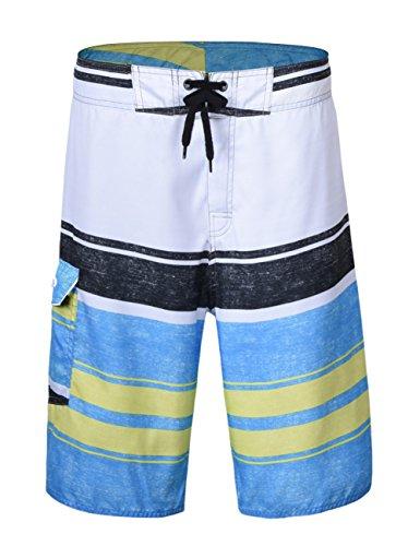 Unitop Men's Board Shorts Summer Holiday Striped Swimwear Quick Dry White 28