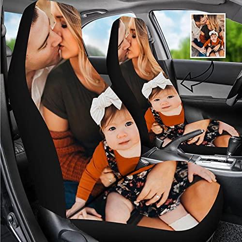 사용자 정의 자동차 좌석 커버와 함께 당신의 사진 로고 텍스트를 사용자 정의 자동차 좌석 커버 여자 남자 여자 선물에 맞게 가장 자동차(2 개)(사용자 정의 자동차 좌석 커버-1 개)