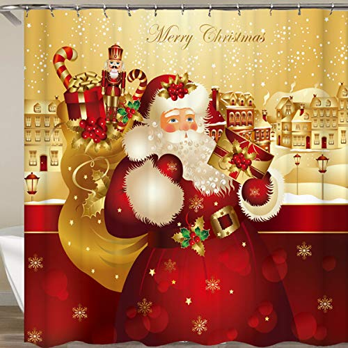 GZ HaiQianXin Accesorios de baño de impresión de patrón de Navidad Impermeable Cortina de Ducha de Navidad con...