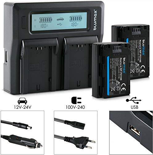 Blumax 2X Akku ersetzt Sony NP-FZ100 2040mAh + Doppel-Ladegerät Dual - passend für Sony Alpha 7RM3, 7M3 / 7 III/Alpha 7R III / 7R IV/Alpha 6600 / Alpha 9 II / A9S - 100% kompatibel