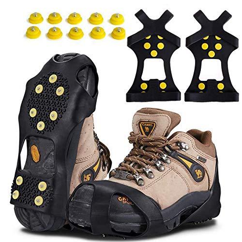 YYSY Anti Rutsch Schuhspikes,Steigeisen mit 10 Edelstahl Spikes, Ice Grips Schuhkrallen für Outdoor-Winter Skifahren Wandern Klettern,Bergsteigen, einem 10er-Pack Ersatz-Schneespikes (M 36-41)