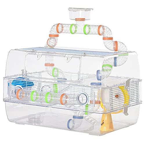 Pawhut Cage pour Hamster Souris Rongeur 3 étages avec Tunnels mangeoire Abreuvoir Roue Maison échelles Toit ouvrant PS métal Blanc Transparent
