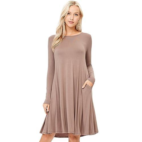 cab6c49dc634 Annabelle Women s Scoop Neck Long Sleeve A-Line Midi Pocket Swing Dresses