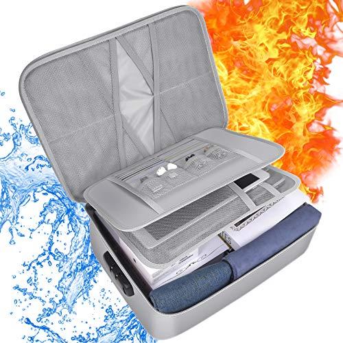 Bolsa Documentos Ignífuga, papasbox Bolsa Ignífuga e Impermeable con Bloqueo de Contraseña, Bolsa de Documentos con Múltiples Compartimentos, Almacene y Proteja Tabletas, Contratos, Pasaportes, Etc.