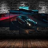 AWER Cuadros colgantes de lienzo de 5 piezas Póster Coche Mercedes AMG GT C Cuadros Decoracion Salon Modernos HD Impresión Foto Innovador Regalo Enmarcado