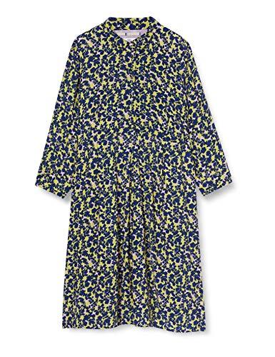 Noa Noa Damen Air Crepe Dress Long Sleeve,Below Knee Lässiges Kleid, Gelb, 46