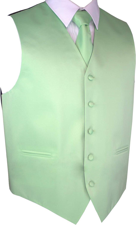 Brand Q Men's Formal Prom Wedding Tuxedo Vest, Tie & Pocket Square Set in Mint