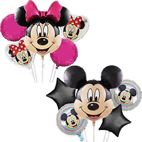 WENTS Globo de Mickey Globos Globo de papel de aluminio Globo de Mickey Minnie Decoración de cumpleaños para niños Globo de cumpleaños Globos de helio Juego de decoración 10PCS
