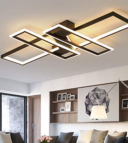 BABYCOW Lámpara de araña de Techo LED Infinitamente Regulable para Sala de Estar Dormitorio Cocina Hogar Lámparas de Techo Modernas Control Remoto Accesorios rectangulares Negros