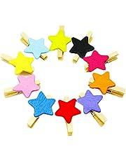 Kanggest 50pcs Mini Pinzas Madera Pequeñas Para Fotos Clips de Madera Decorativas estrella Colores Ropa Papel DIY Mini Fotos de Madera(Color aleatorio)